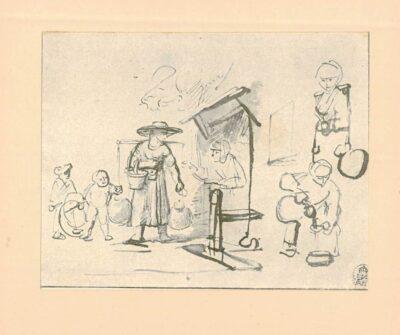 Rembrandt, zeichnung, hofstede de groot 261, Studienblatt mit Milchmagd und Frau an geöffneter Tür