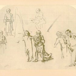Rembrandt, tekening, hofstede de groot 262, Studieblad met zeven figuren