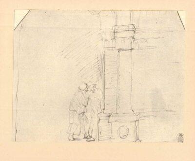 Rembrandt, zeichnung, hofstede de groot 267, Hannah verabschiedet sich von dem jungen Samuel