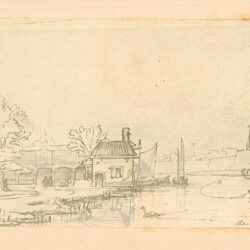 Rembrandt, zeichnung, hofstede de groot 279, Kanal an der Außenseite eines Walls mit Windmühle