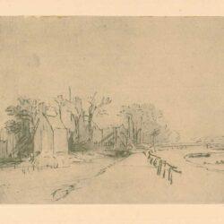 Rembrandt, tekening, Het huis Kostverloren aan de Amstel