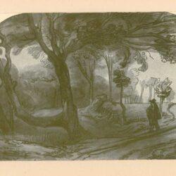 Rembrandt, zeichnung, hofstede groot 281, Weg am Waldesrand mit Wanderer