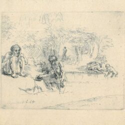 Rembrandt Etching, bartch b. 195, Baders