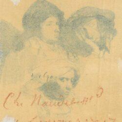 Drie vrouwenkoppen, één slapend, Rembrandt ets, New Hollstein 161, Bartsch, B. 368