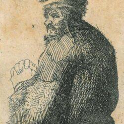 Rembrandt, etching, New Hollsten 33, Bartsch B. 366, Sheet of studies of men's heads