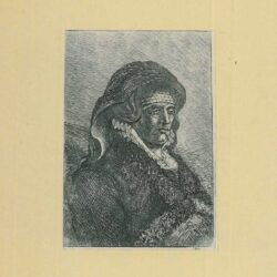 Rembrandt, etching, Bartsch b. 344, Rembrandt's mother seated at a table, looking left: three-quarter length
