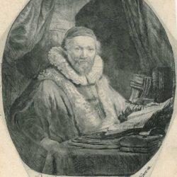 Rembrandt, Etching, New Hollstein 153, Bartsch, B. 279, Jan Uytenbogaert, preacher of the Remonstrants [1557-1644]