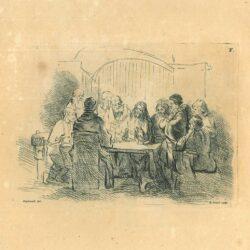 rembrandt, tekening, Christus en zijn discipelen aan tafel
