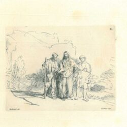 Rembrandt, drawing, Benesch 1383, Christ with Two Disciples on the Road to Emmaus