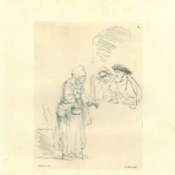 Rembrandt, drawing, Benesch 744, old woman with a basket