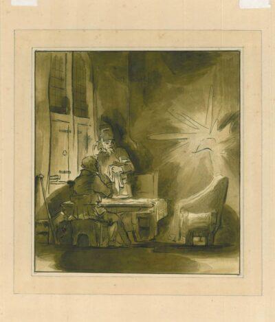 Rembrandt, drawing, Benesch C 47, The supper at Emmaus
