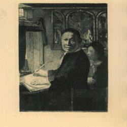 De schrijfmeester Lieven Willemsz. van Coppenol (1599- na 1677): kleine plaat, Coppenol, Rembrandt ets, Bartsch, B. 282