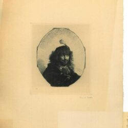 Rembrandt, etching, Bartsch B. 23, Self portrait [?] with plumed cap and lowered sabre