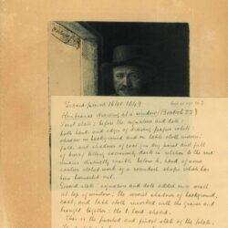Rembrandt, etching, Bartsch B. 22, Self portrait drawing at a window