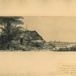 Rembrandt Etching, Bartch B.226, Landscape with a cottage and a large tree