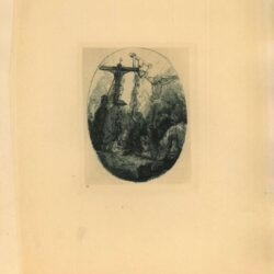 Rembrandt, Etching, Bartsch B. 79, Christ crucified between the two thieves: an oval plate