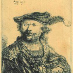Zelfportret met gepluimde fluwelen baret, Rembrandt ets, Bartsch, B. 20