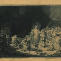 Rembrandt, etching, bartsch b. 74, Christ preaching, or 'The hundred-guilder print'