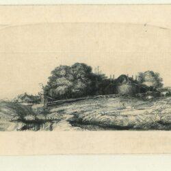 Landschap met een hooimijt en een kudde schapen, Rembrandt ets, Bartsch, B. 224, New Hollstein 254, copy c