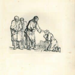Rembrandt, drawing, Schatborn 43, Christ Healing a Leper