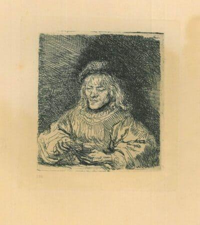 Rembrandt Etching Bartsch B. 136, The Card Player