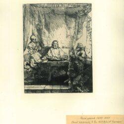 Rembrandt, Ets, Bartsch B. 87, Christus te Emmaüs: grote plaat