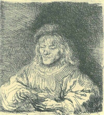 Rembrandt Etching, Bartch B. 136, The card player