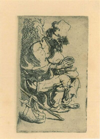 Rembrandt, etching, Bartsch b. 173, Beggar seated warming his hands at a chafing dish