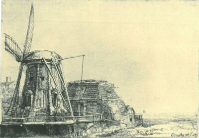 Rembrandt Etching, Bartch B. 233, The windmill
