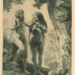 Rembrandt Etching, Bartch B.28, Adam and Eva