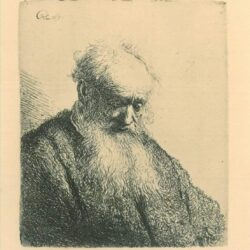 Rembrandt Etching, Bartch b. 309, Old man with a flowing beard