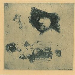 Rembrandt Etching, Bartsch B. 363, Sheet of studies: head of the artist, a beggar couple, heads of an old man and woman, etc.