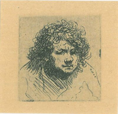 Rembrandt, etching, Bartsch b. 5, Self portrait leaning forward: bust