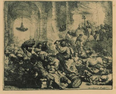 Rembrandt Etching, Bartch B.69, Christ driving the moneychangers from the Temple