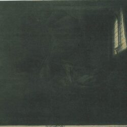 Rembrandt Etching, Bartch B.105, St. Jerome in a dark chamber