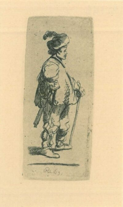 Rembrandt Etching, Bartch B. 142,A polander standing with his stick: right profile
