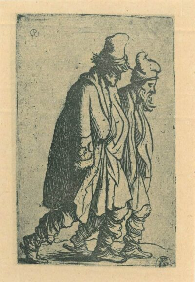 Rembrandt Etching, Bartch b. 154, Two beggars tramping towards the right