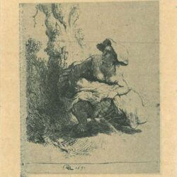 Rembrandt Etching, Bartch B. 191, A woman making water