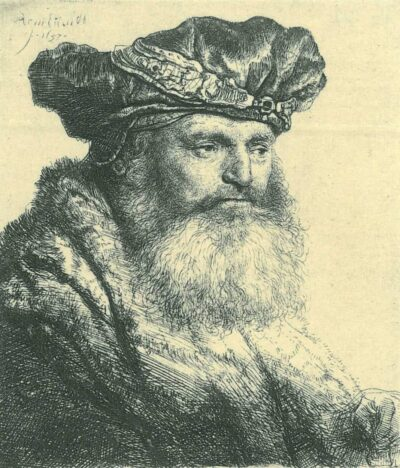Rembrandt Etching, B. 313, Bearded man in a velvet cap with a jewel clasp