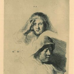 Rembrandt Etching, Bartch B.367, Three heads of women, one lightly etched