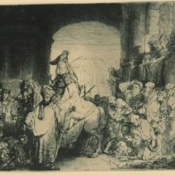 Rembrandt Etching, Bartch B.40, The triumph of Mordechai