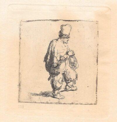 Rembrandt, Bartsch B. 140, Man met draaiorgeltje [Pool met zijn armen over elkaar]