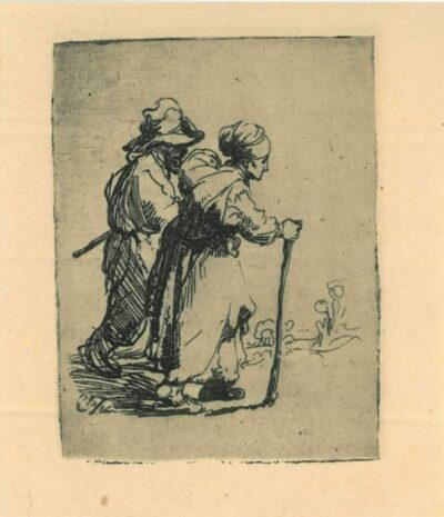 Rembrandt, Etching, Bartsch B. 144, Two tramps, a man and a woman