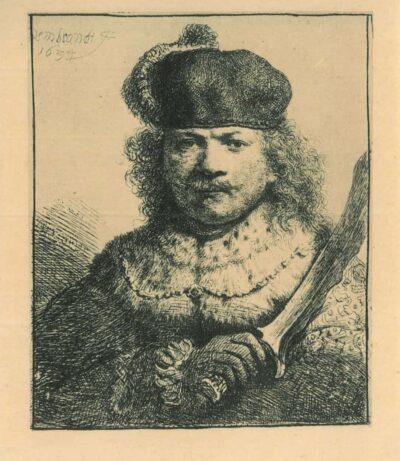 Rembrandt, Etching, Bartsch B. 18, Self portrait with raised sabre