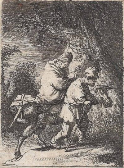 Rembrandt, Bartsch B. 52, copy in reverse, The flight into Egypt: the small plate