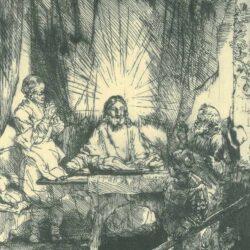 Rembrandt, Ets, Bartsch B. 87, Christ at Emmaus: the larger plate
