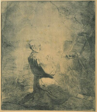 Rembrandt Etching, bartch b. 106, St. Jerome kneeling: a large plate