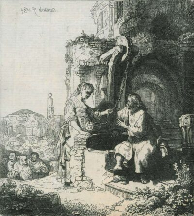 Rembrandt Etching Bartsch B. 71, New Hollstein 127, copy d, Christ and the woman of Samaria: among ruins