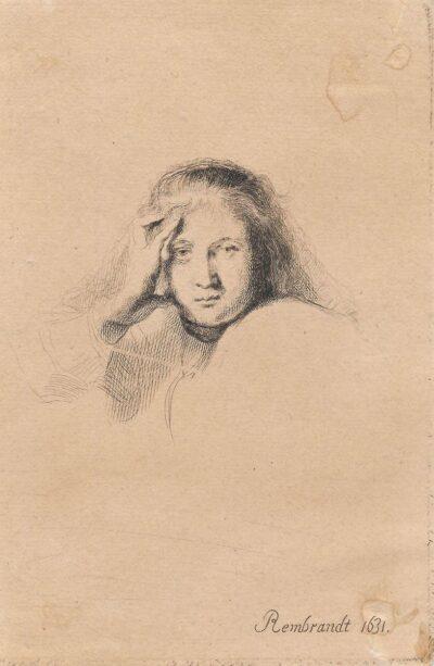 Rembrandt, Bartsch 367, Studie van een vrouwenhoofd, New Hollstein 162, copy F, II(2)
