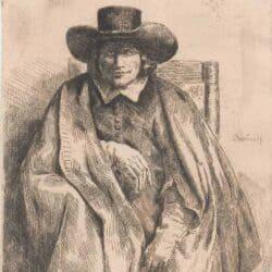 Rembrandt Bartsch B. 272, New Hollstein 264, De prentverkoper Clement de Jonghe  (1624/25-1677)